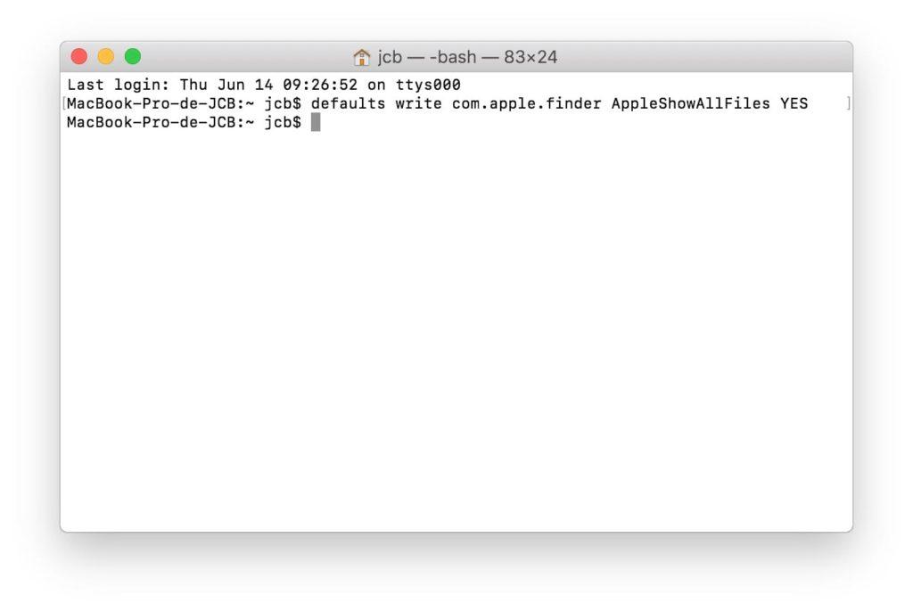 Afficher les fichiers caches sous macOS Mojave commande Terminal