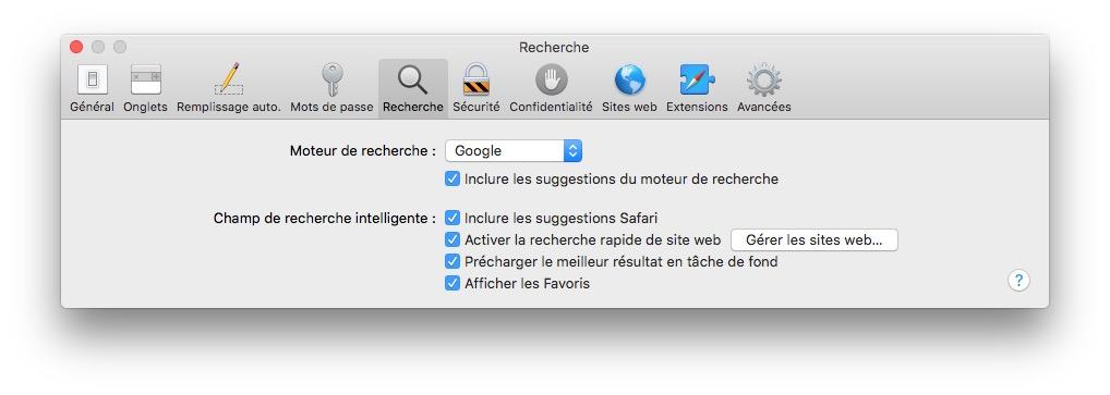 Changer le moteur de recherche de Safari Mac Preferences