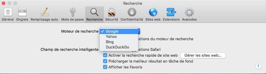 Changer le moteur de recherche de Safari Mac par Google Yahoo Bing DuckDuckGo