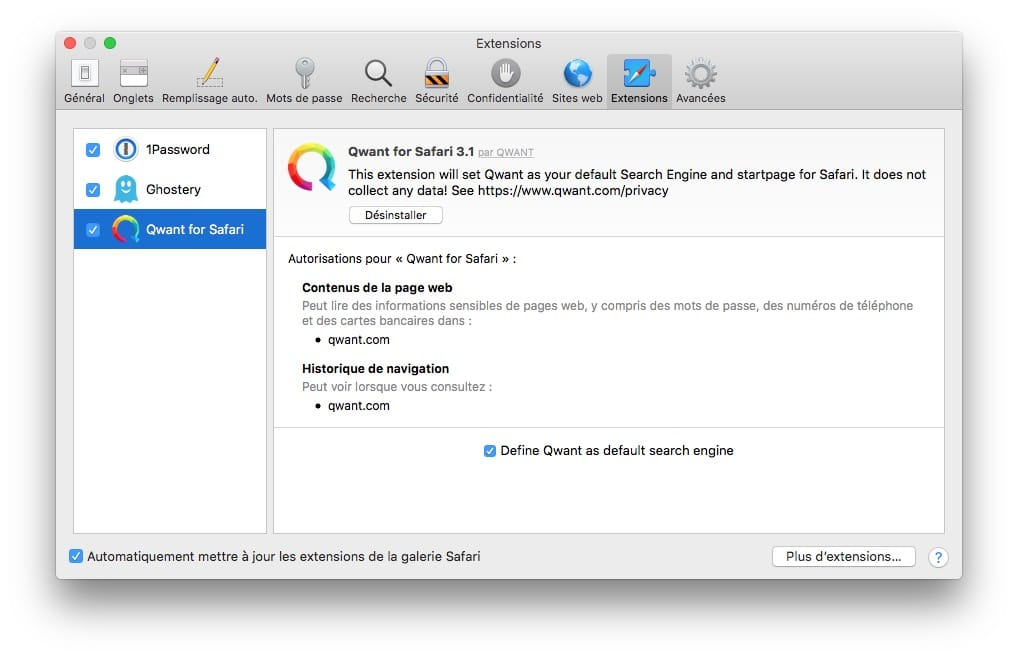Changer le moteur de recherche de Safari par Qwant