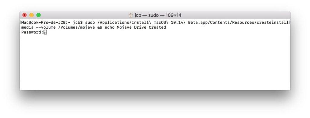 Creer une cle USB bootable de macOS Mojave avec le Terminal