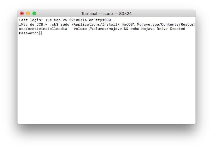 Creer une cle USB bootable de macOS Mojave avec le Terminal mac