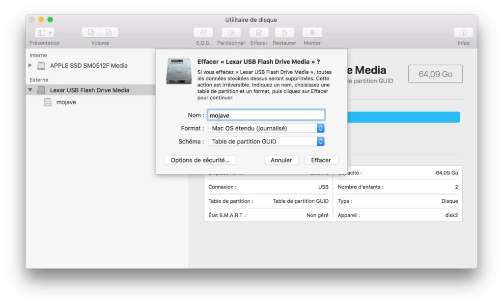 Creer une cle USB bootable de macOS Mojave formatage cle