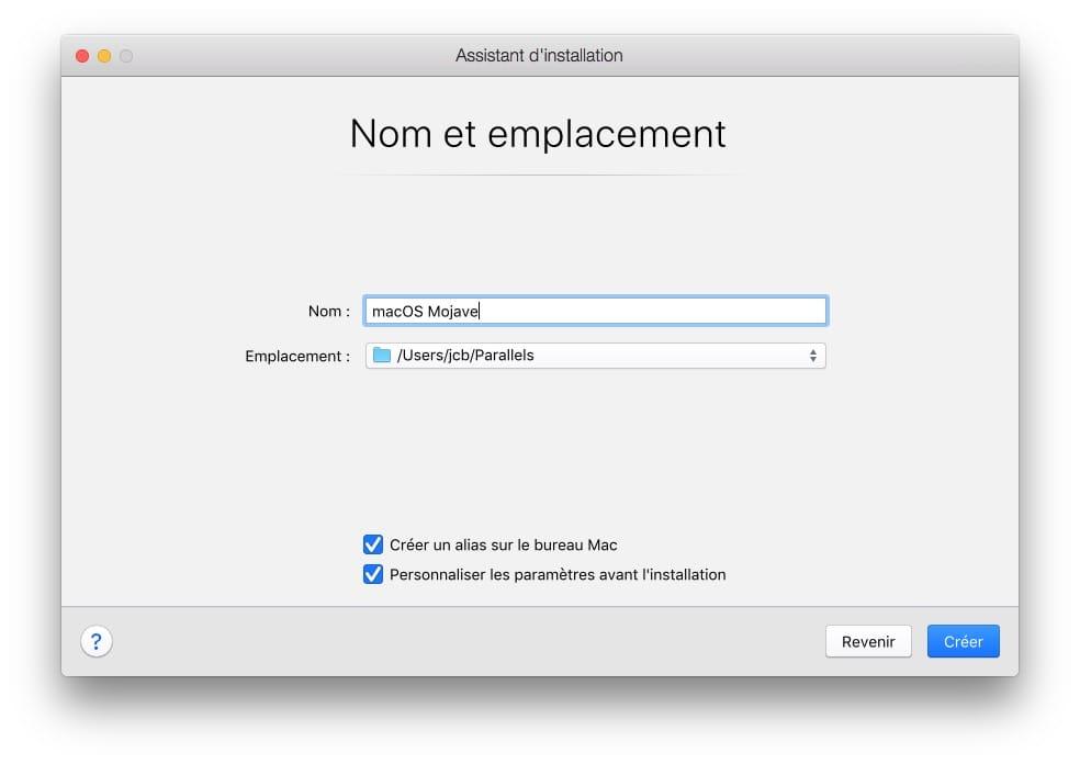 Installer macOS Mojave avec Parallels Desktop emplacement