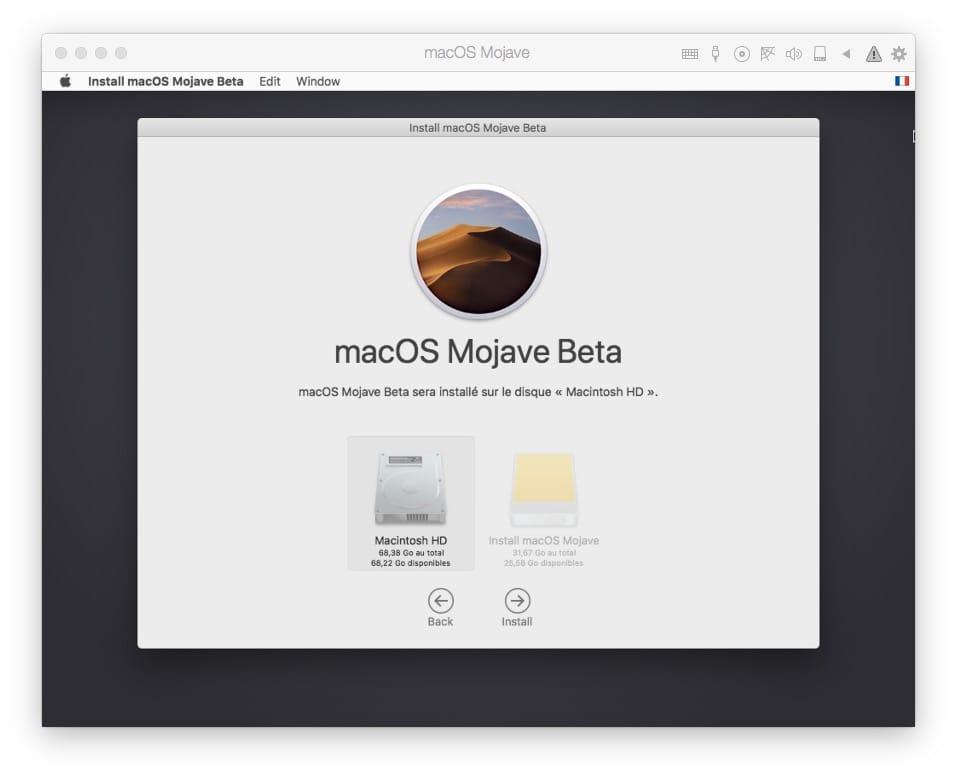 Installer macOS Mojave avec Parallels Desktop macintosh HD