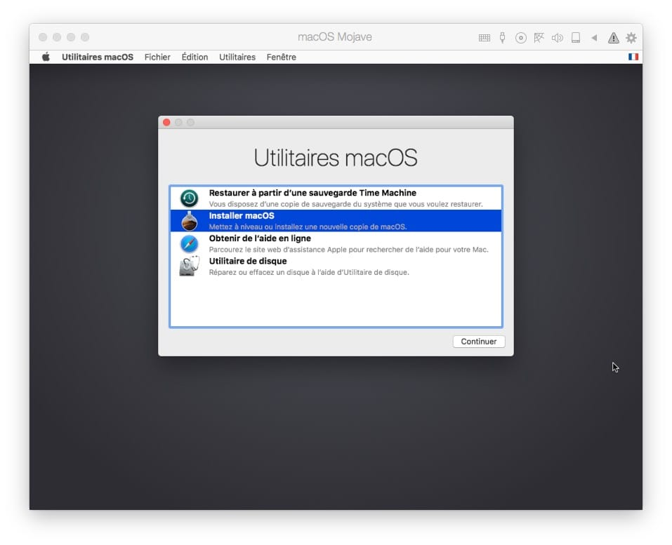 Installer macOS Mojave avec Parallels Desktop utilitaires macos
