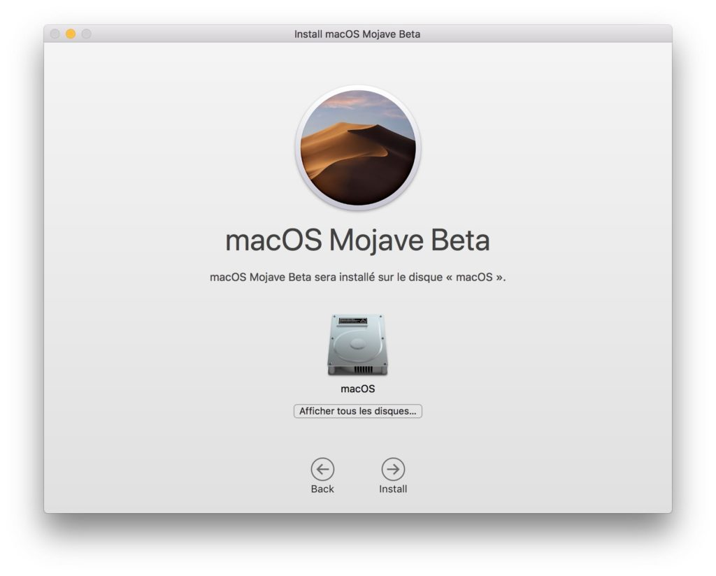 Installer macOS Mojave en mise a jour