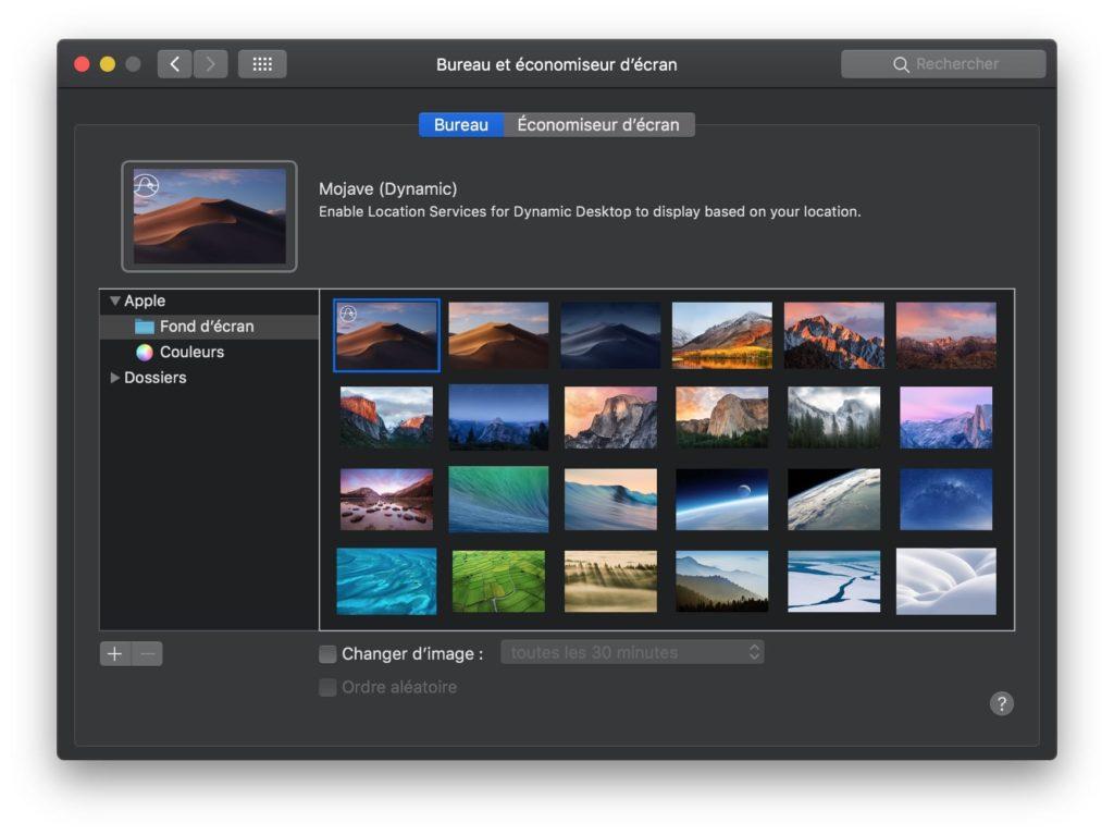 MacOS Mojave Dynamic fond ecran