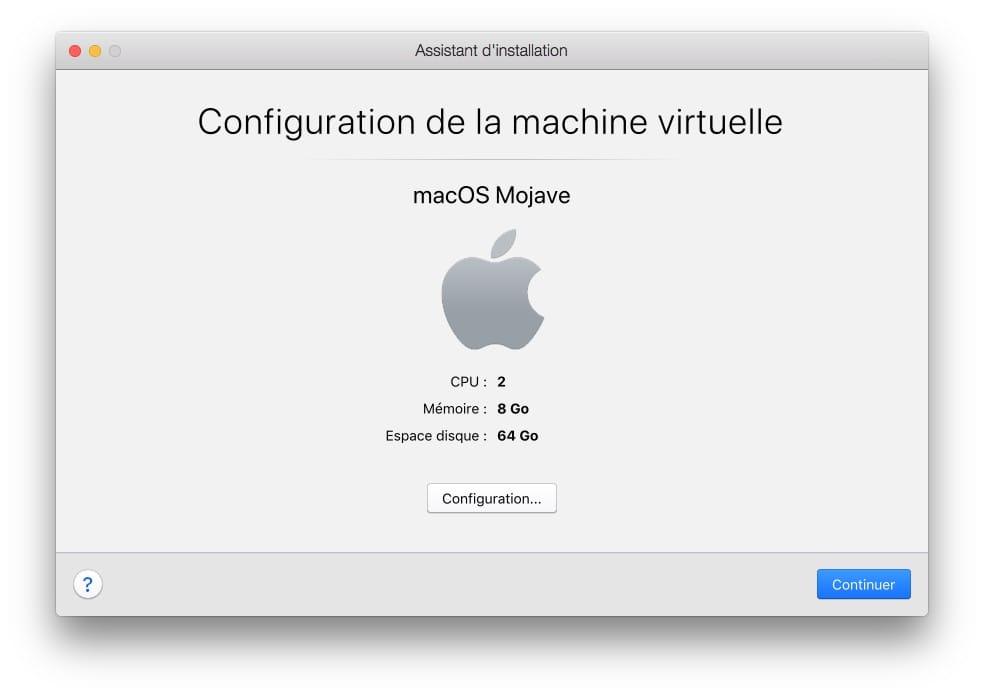 configuration de la machine virtuelle macos mojave avec parallels desktop