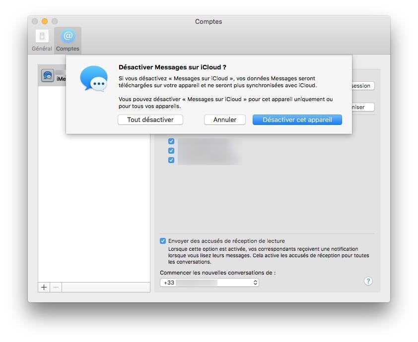 desactiver Messages sur iCloud Mac