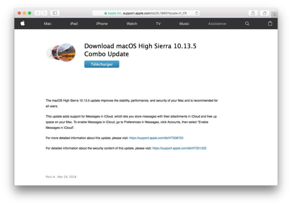 macOS High Sierra 10.13.5 Combo Update