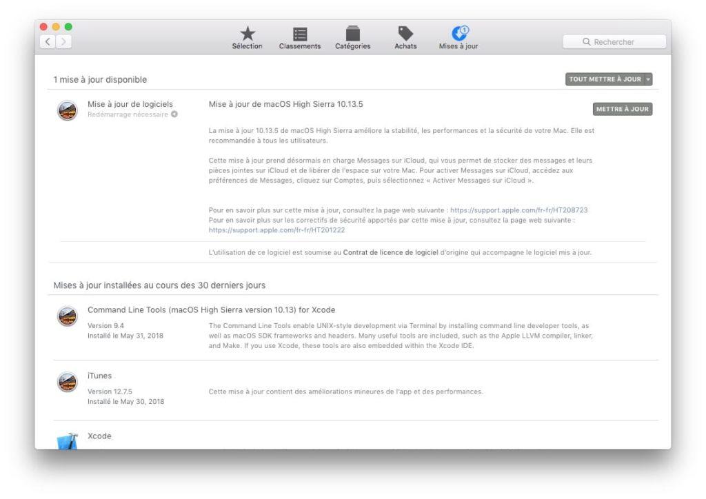 macOS High Sierra 10.13.5 messages sur iCloud