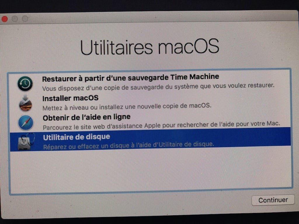 Downgrade macOS Mojave macos High Sierra utilitaire de disque