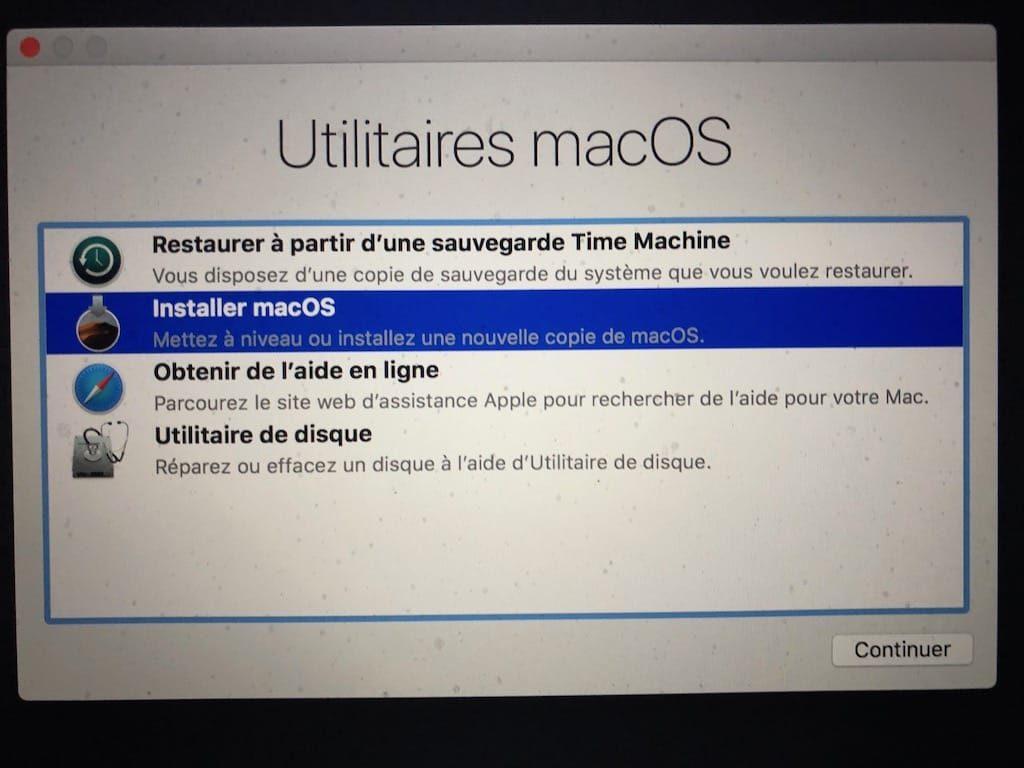 Installation propre macOS Mojave installer