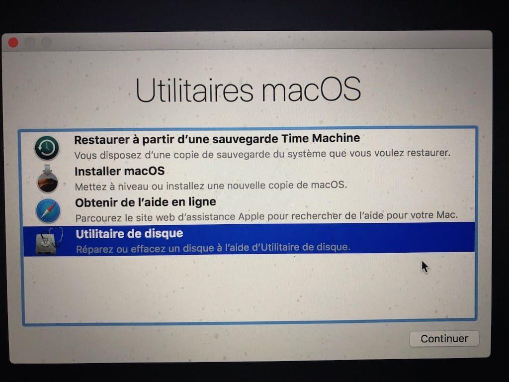 Installation propre macOS Mojave utilitaires macos