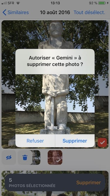 Supprimer les photos en double sur son iPhone autoriser Gemini