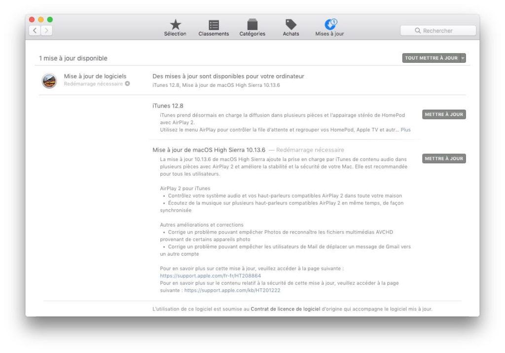 macOS High Sierra 10.13.6 liste nouveautes et correctifs bugs