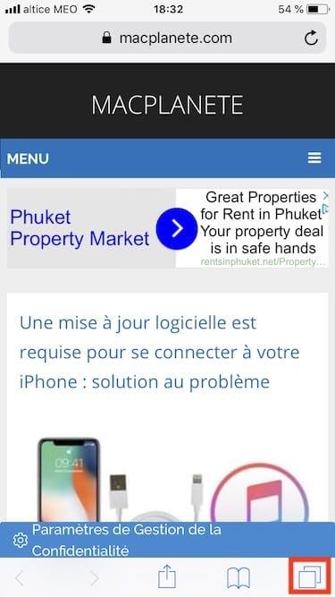 Fermer tous les onglets de Safari iPhone