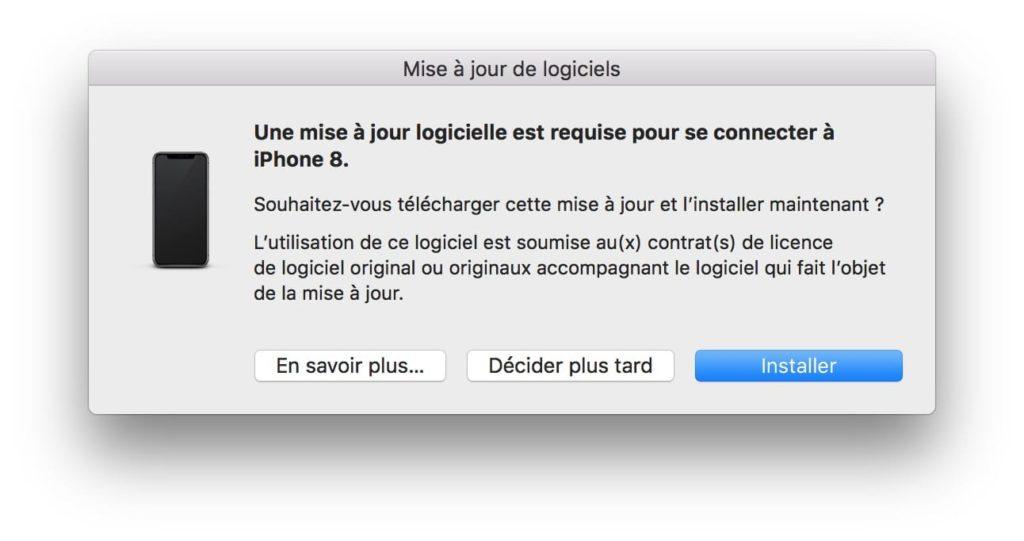 Une mise a jour logicielle est requise pour se connecter a votre iPhone 8 installer