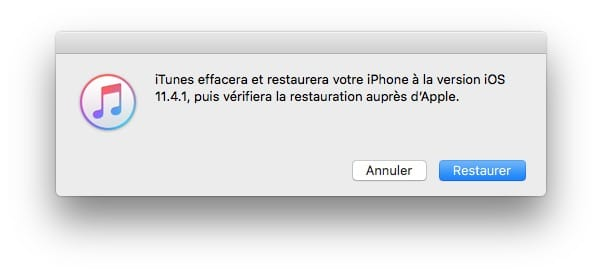 Downgrade iOS 12 vers iOS 11 effacement restauration ios 11.4.1