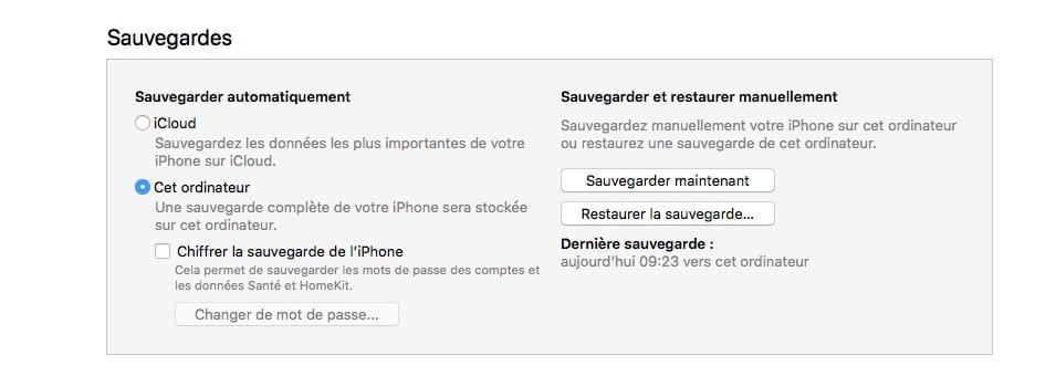 Downgrade iOS 12 vers iOS 11 sauvegarde itunes