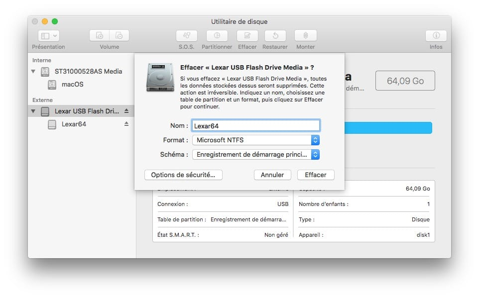 NTFS macOS Mojave formater disque cle usb