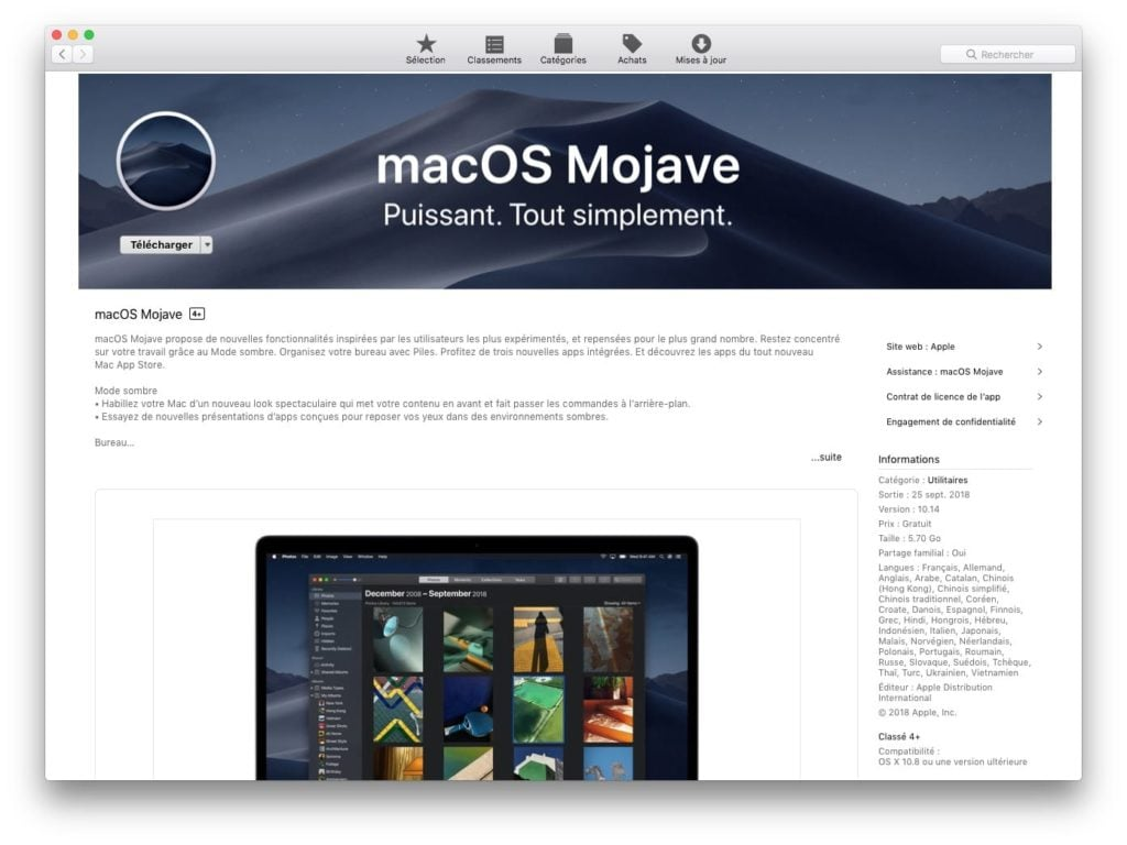 Telecharger le fichier d installation complet de macOS Mojave app store