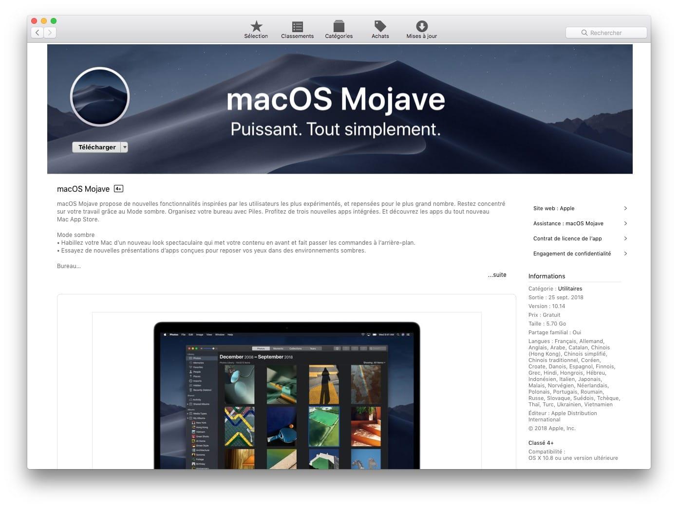 Télécharger le fichier d'installation complet de macOS Mojave (10 14