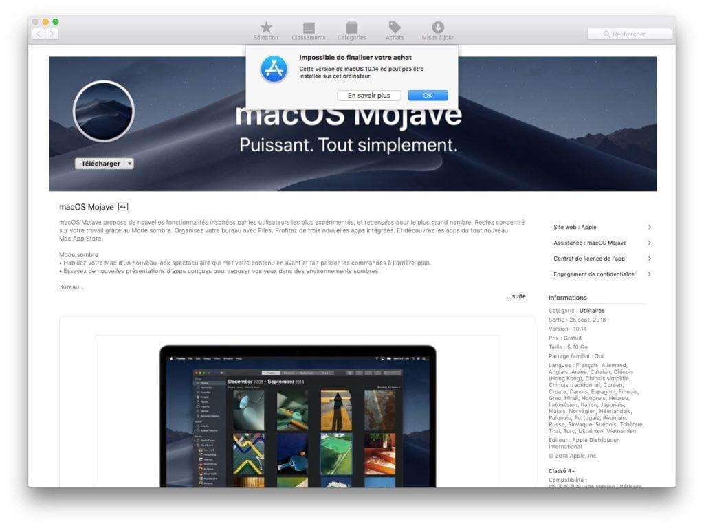 Telecharger le fichier dinstallation complet de macOS Mojave tutoriel impossible de finaliser votre achat