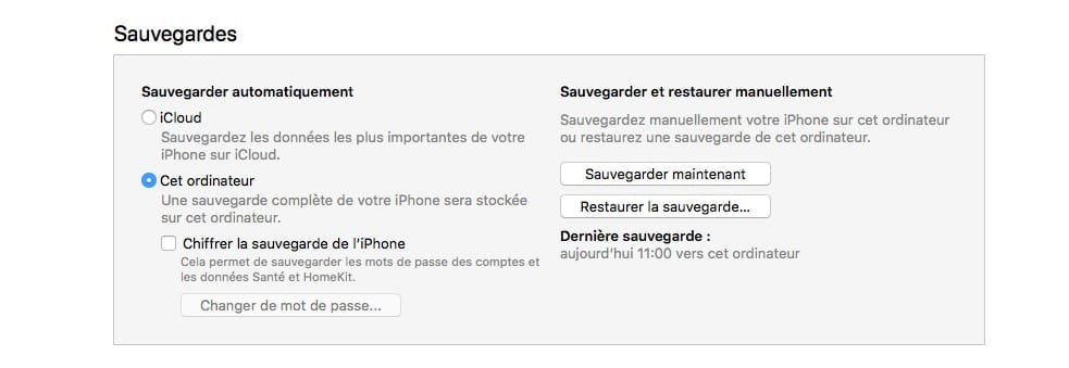 installer ios 12 sauvegarde donnees avec itunes
