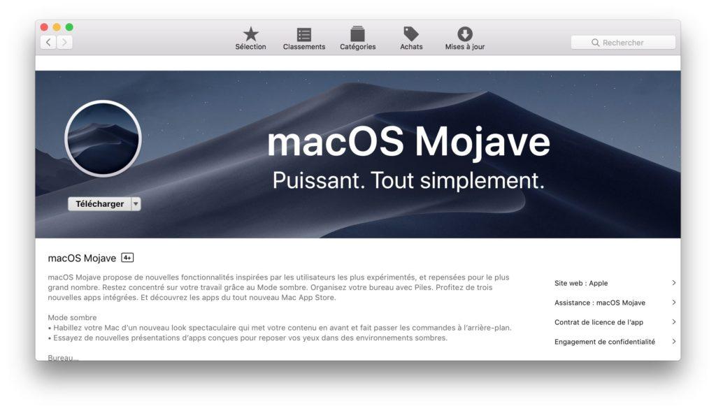 telecharger macos mojave depuis mac app store