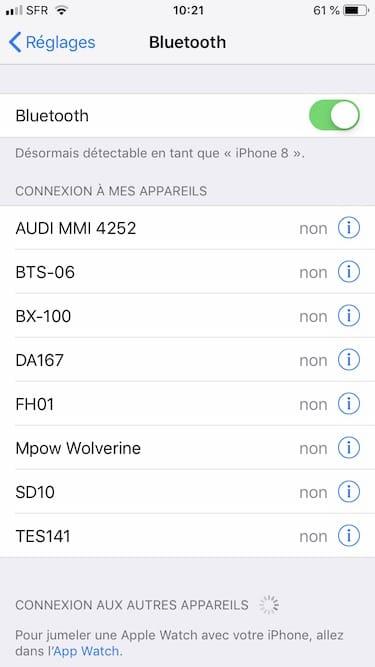 Connecter un appareil Bluetooth sur iphone ipad reglages