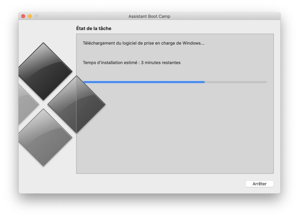 Dual boot macOS Mojave Windows 10 copie des fichiers installation