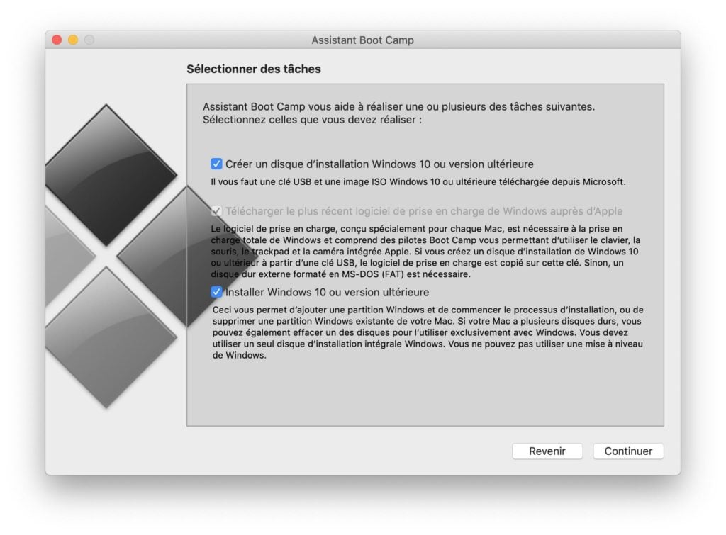 Dual boot macOS Mojave Windows 10 creation disque installation