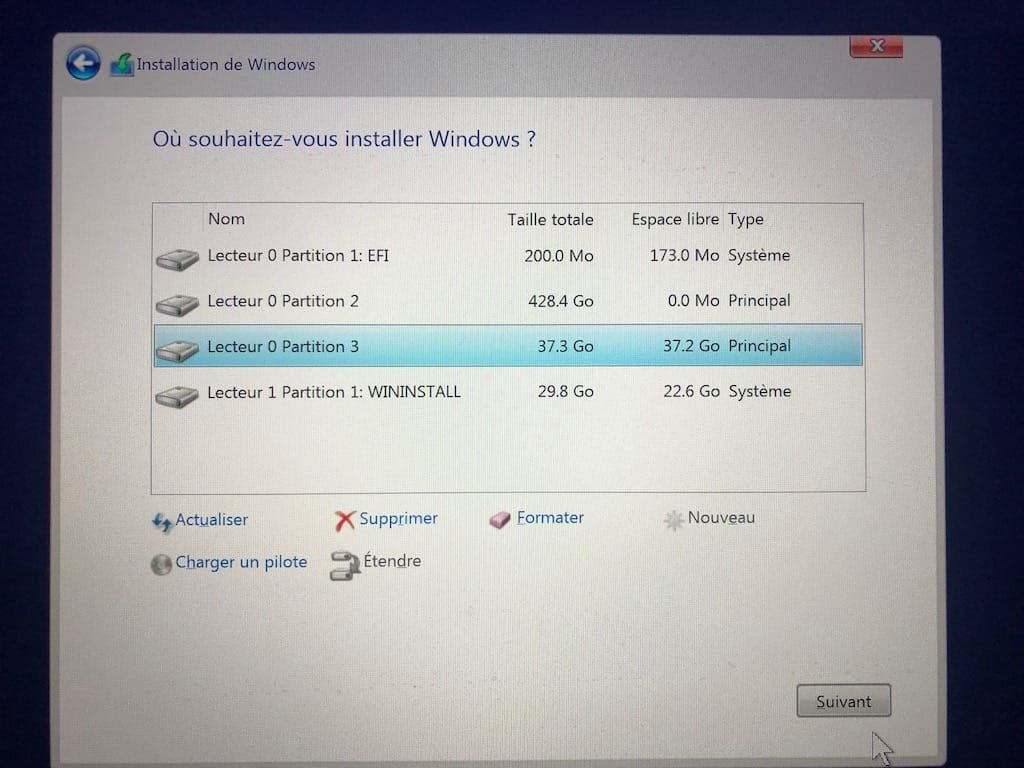 Dual boot macOS Mojave Windows 10 lecteur 0 partition 3