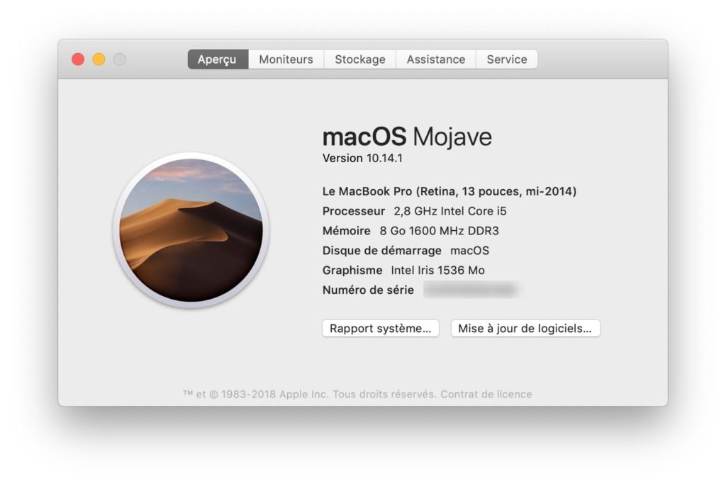 macOS 10.14.1 mise a jour 18B75