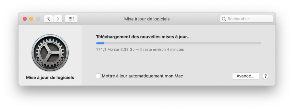 macOS Mojave 10.14.1 telechargement en cours