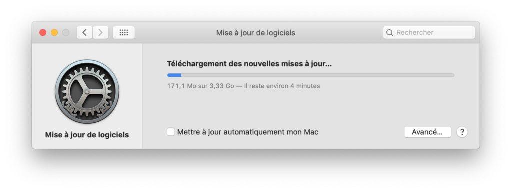macOS Mojave 10.14.1 telechargement en cours