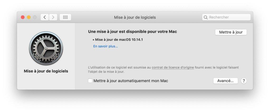 macOS Mojave 10.14.1 une mise a jour est disponible pour votre mac