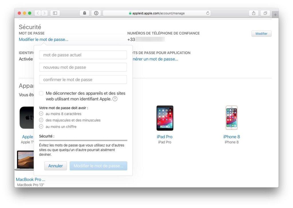 Changer le mot de passe de son iPhone mot de passe actuel et nouveau