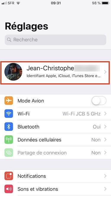 Changer le mot de passe de son iPhone reglages