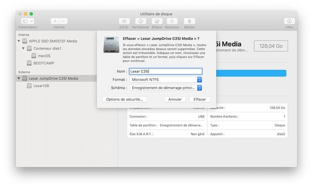Formater en NTFS sous macOS Mojave utilitaire de disque