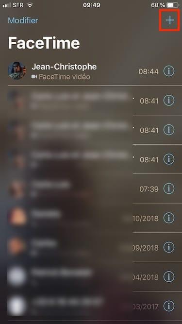 appel de groupe FaceTime ajouter les contacts