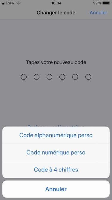 iphone xr x xs changer mot de passe code alphanumerique