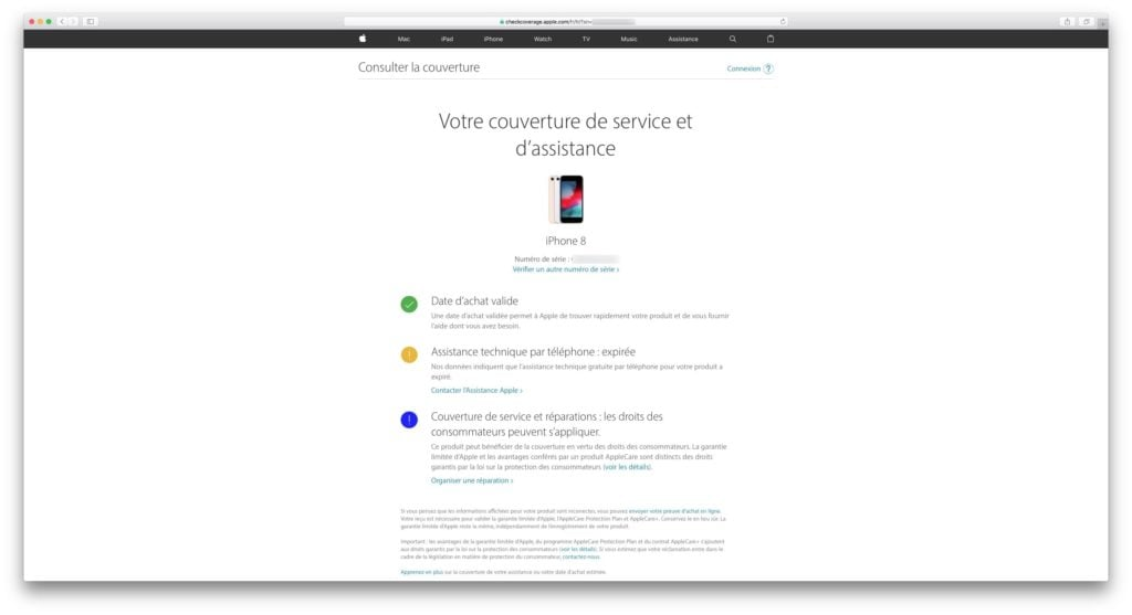 verifier la garantie de son iphone X XS XR 8