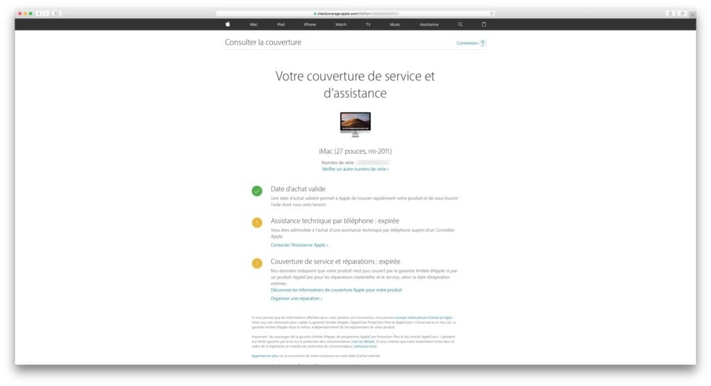 verifier la garantie de son iphone imac