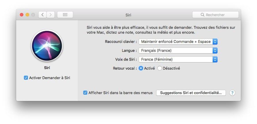 Siri mac changer voix et langue