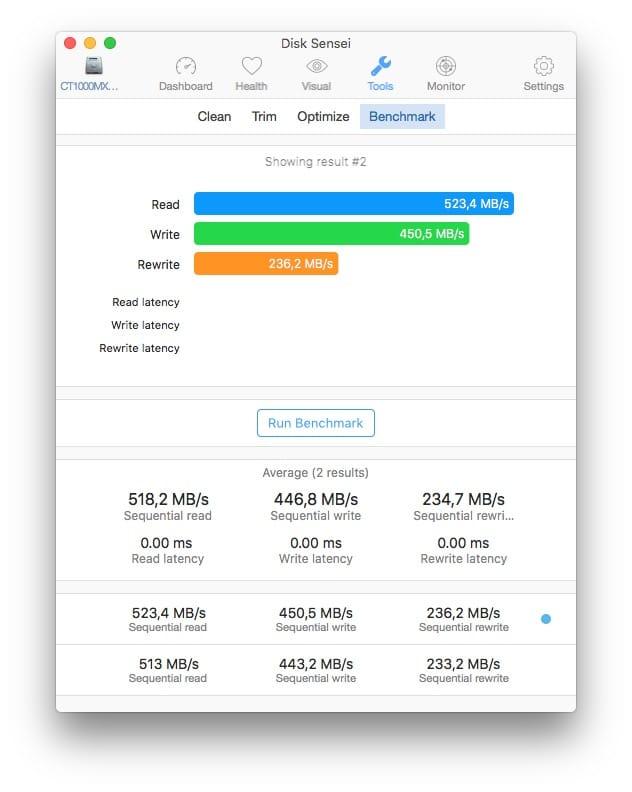 disk sensei ssd benchmark mac