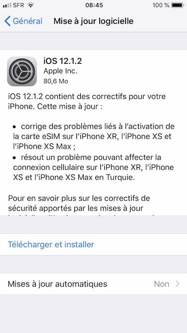 iOS 12.1.2 maj OTA