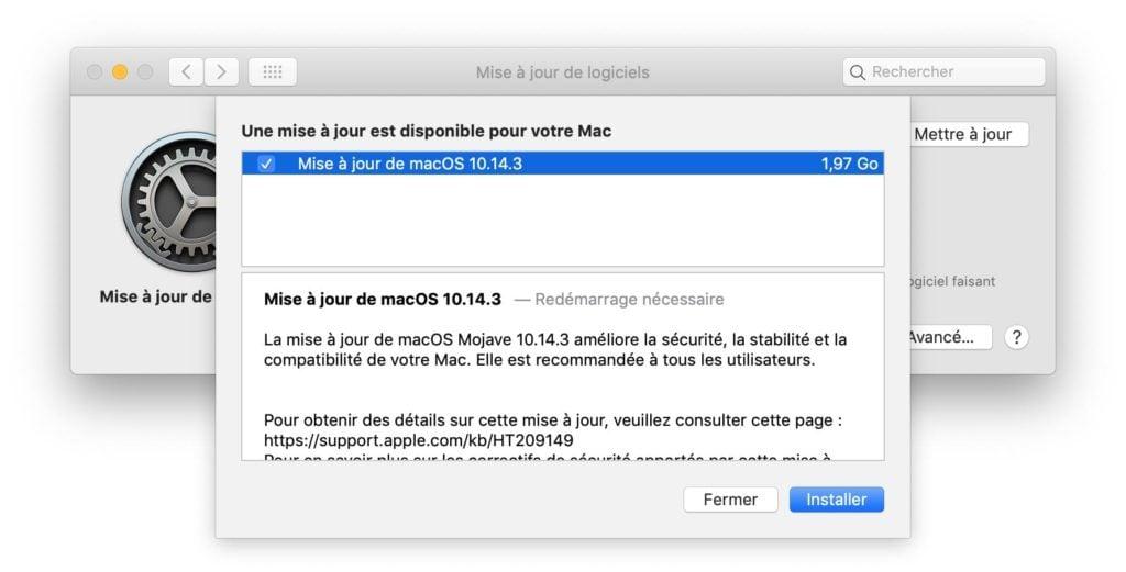 macOS Mojave 10.14.3 nouveautes et correctifs